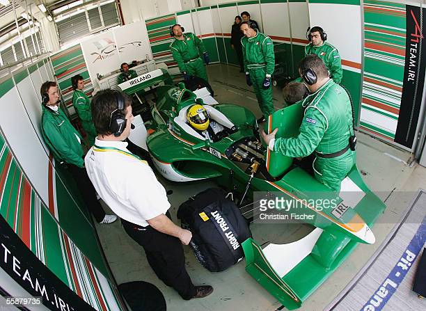 Ralph Firman of Team Ireland waits in the pit during the third practice session at the A1 Grand Prix of Nations Germany at the Eurospeedway on...