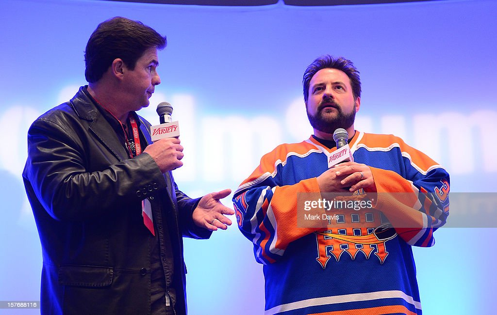 Ralph Garman, KROQ Radio Personality & actor (L) and Director-Writer <a gi-track='captionPersonalityLinkClicked' href=/galleries/search?phrase=Kevin+Smith+-+R%C3%A9alisateur&family=editorial&specificpeople=5102286 ng-click='$event.stopPropagation()'>Kevin Smith</a> speak onstage during a Keynote Conversation at the Future Of Film Summit: Finding Success In The Digital Age Produced By Variety And Digital Media Wire at Sofitel Hotel on December 5, 2012 in Los Angeles, California.