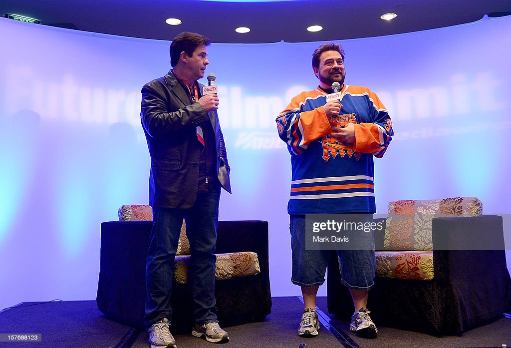 Ralph Garman, KROQ Radio Personality & actor (L) and Director-Writer <a gi-track='captionPersonalityLinkClicked' href=/galleries/search?phrase=Kevin+Smith+-+Regista&family=editorial&specificpeople=5102286 ng-click='$event.stopPropagation()'>Kevin Smith</a> speak onstage during a Keynote Conversation at the Future Of Film Summit: Finding Success In The Digital Age Produced By Variety And Digital Media Wire at Sofitel Hotel on December 5, 2012 in Los Angeles, California.
