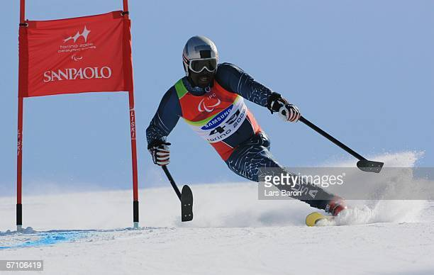 Ralph Green of the United States of America competes in the Men's Giant Slalom during Day Six of the Turin 2006 Winter Paralympic Games on March 16...