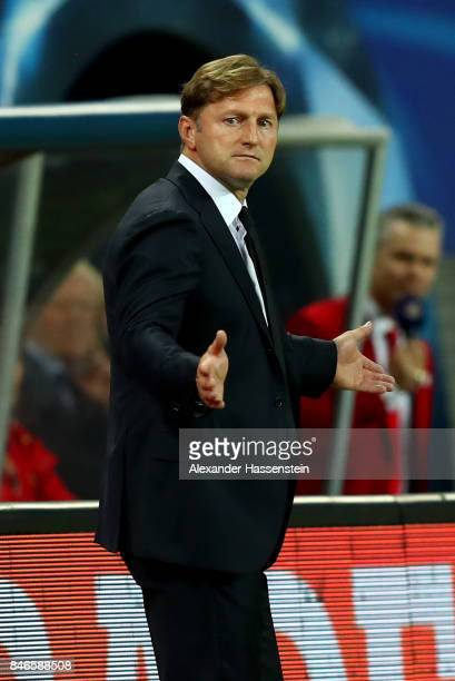 Ralph Hasenhüttl head coach of Leipzig reacts during the UEFA Champions League group G match between RB Leipzig and AS Monaco at Red Bull Arena on...