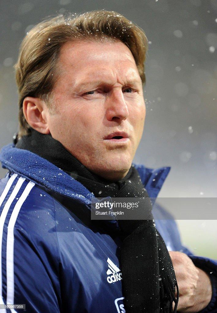 Ralph Hasenhuettl, head coach of Aalen ponders during the second Bundesliga match between Eintracht Braunschweig and VfR Aalen at Eintracht Stadion on February 8, 2013 in Braunschweig, Germany.