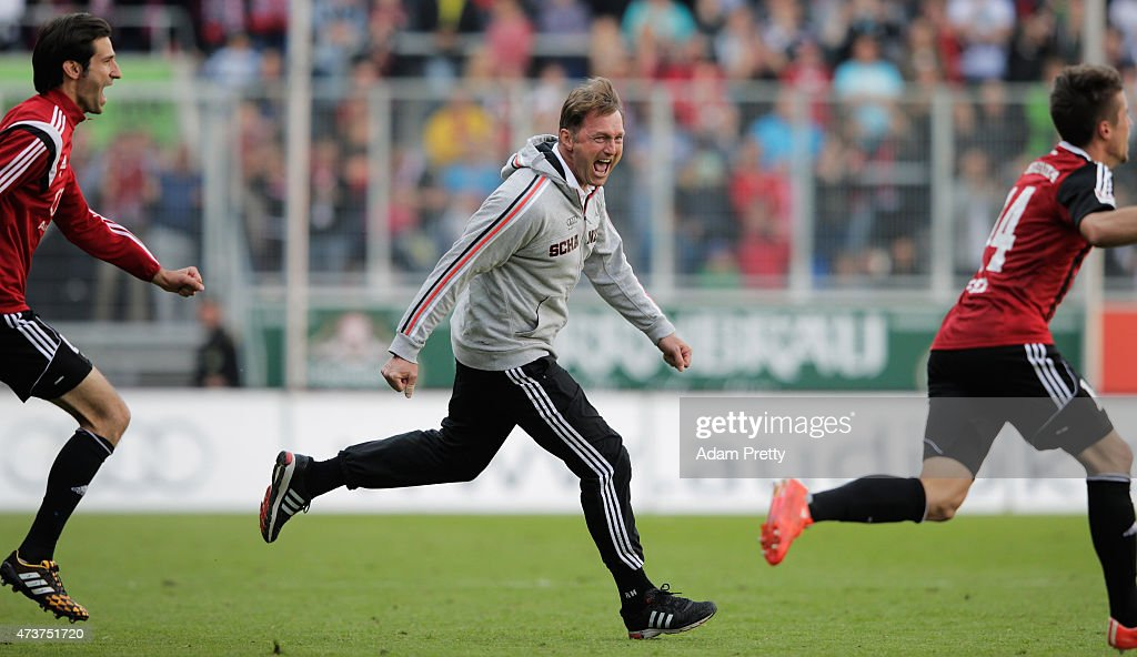 Ralph Hasenhuettl Head Coach of FC Ingolstadt celebrates after victory in the 2 Bundesliga match between FC Ingolstadt and RB Leipzig at Audi...