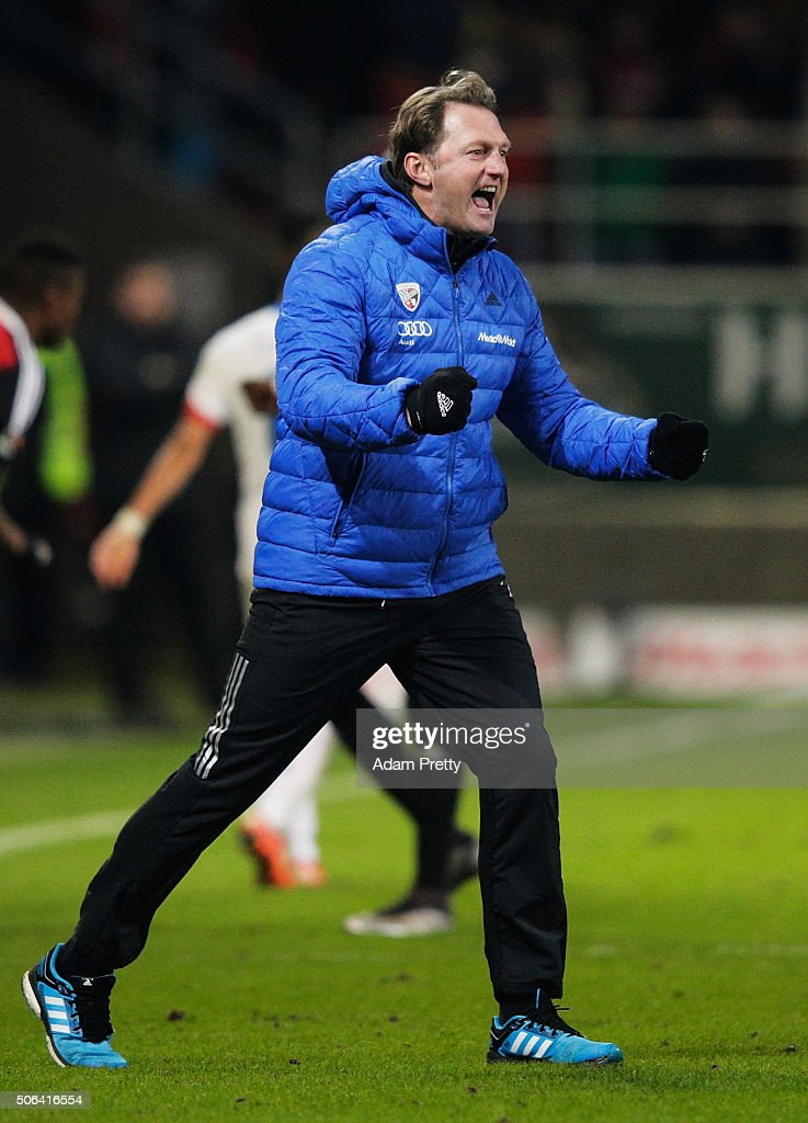 Ralph Hasenhuettl head coach of FC Ingolstadt celebrates victory in the Bundesliga match between FC Ingolstadt and FSV Mainz at Audi Sportpark on...