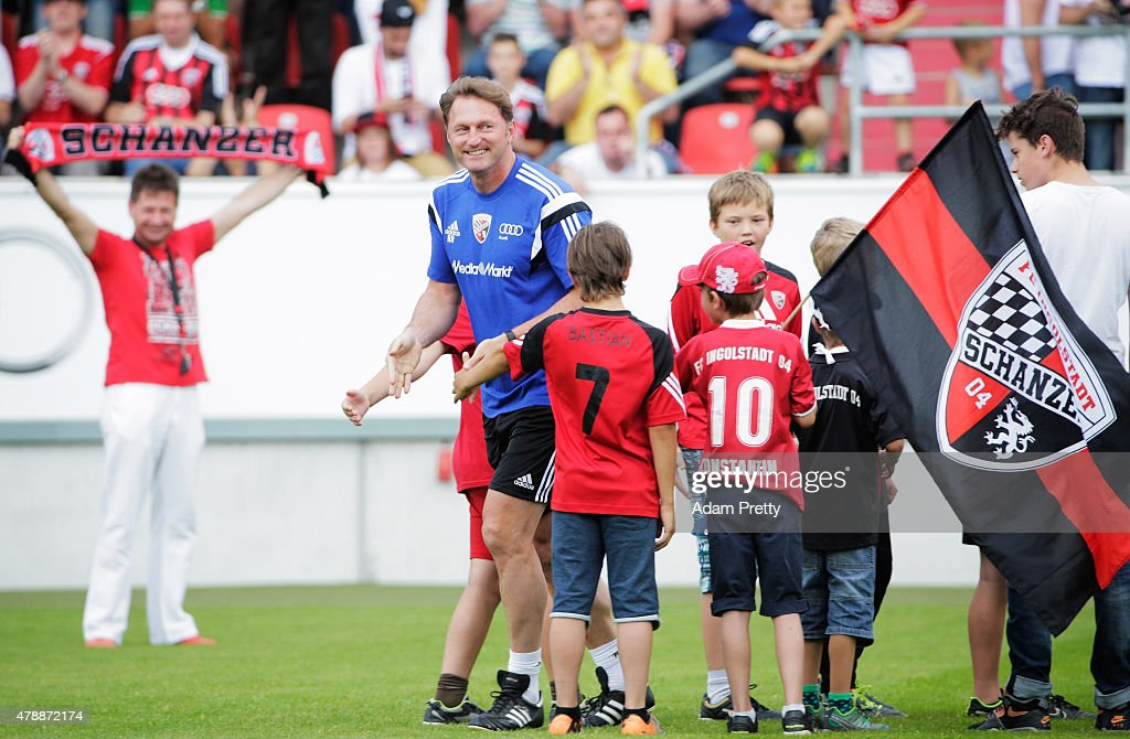 Ralph Hasenhuettl Head Coach of FC Ingolstadt is greeted by the fans during first day of training at Audi Sportpark on June 28 2015 in Ingolstadt...