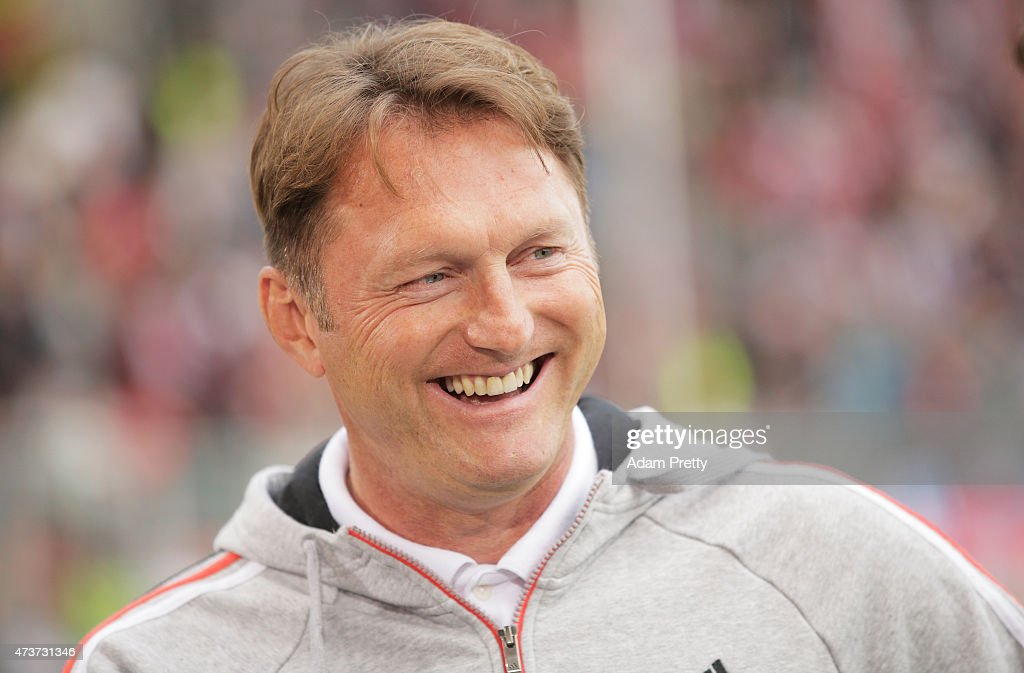 Ralph Hasenhuettl Head Coach of FC Ingolstadt smiles before the 2 Bundesliga match between FC Ingolstadt and RB Leipzig at Audi Sportpark on May 17...