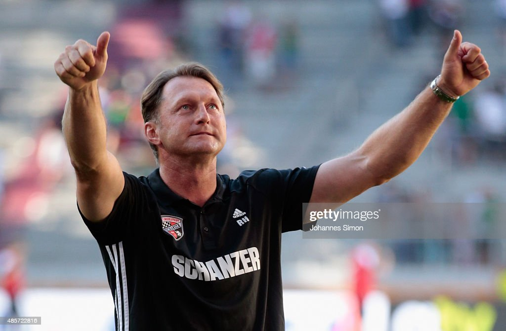 Ralph Hasenhuettl head coach of Ingolstadt celebrates after winning the Bundesliga match between FC Augsburg and FC Ingolstadt at WWK Arena on August...