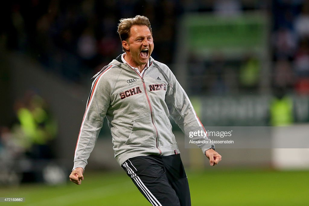 Ralph Hasenhuettl head coach of Ingolstadt celebrates his teams first goal during the Second Bundesliga match between FC Ingolstadt and 1 FC...