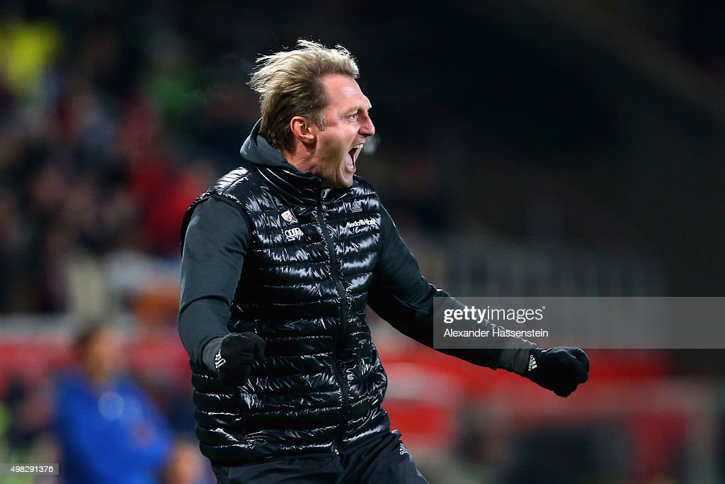 Ralph Hasenhuettl head coach of Ingolstadt celebrates the first team goal to the Bundesliga match the Bundesliga match between FC Ingolstadt and SV...