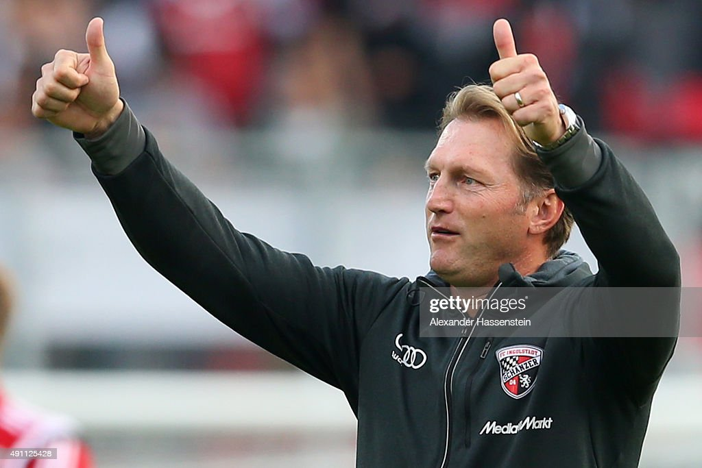 Ralph Hasenhuettl head coach of Ingolstadt celebrates victory after winning the Bundesliga match between FC Ingolstadt and Eintracht Frankfurt at...