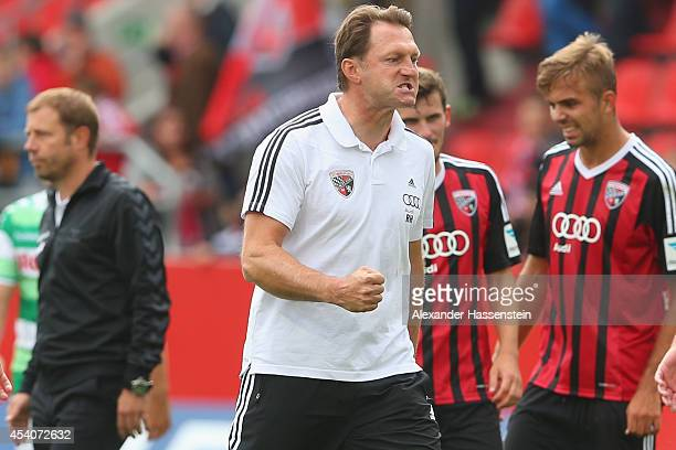 Ralph Hasenhuettl head coach of Ingolstadt celebrates winning the Second Bundesliga match between FC Ingolstadt and Greuther Fuerth at Audi Sportpark...