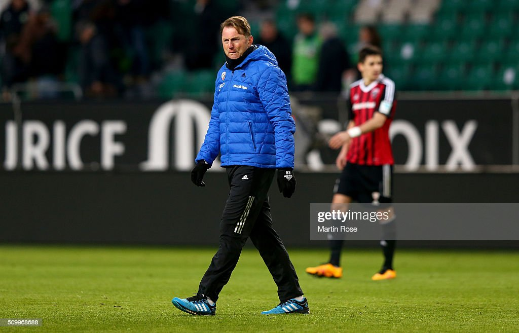 Ralph Hasenhuettl, head coach of Ingolstadt looks dejected after the Bundesliga match between VfL Wolfsburg and FC Ingolstadt at Volkswagen Arena on February 13, 2016 in Wolfsburg, Germany.