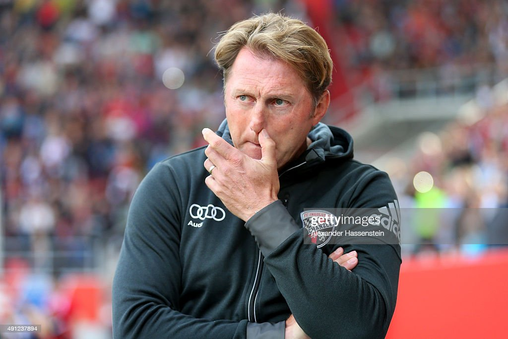 Ralph Hasenhuettl head coach of Ingolstadt looks on prior to the Bundesliga match between FC Ingolstadt and Eintracht Frankfurt at Audi Sportpark on...