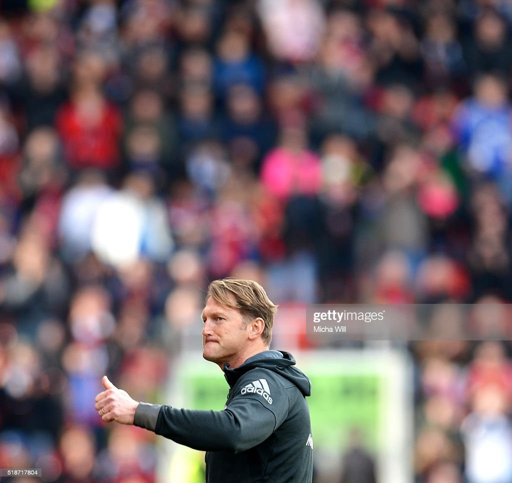 Ralph Hasenhuettl head coach of Ingolstadt reacts after his teams victory in the Bundesliga match between FC Ingolstadt and FC Schalke 04 at Audi...