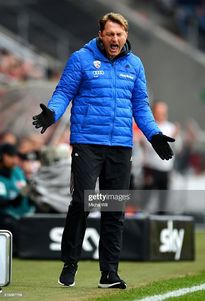 Ralph Hasenhuettl head coach of Ingolstadt reacts during the Bundesliga match between FC Ingolstadt and VfB Stuttgart at Audi Sportpark on March 12...