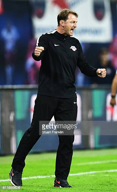 Ralph Hasenhuettl head coach of Leipzig celebrates his teams win during the Bundesliga match between RB Leipzig and FC Augsburg at Red Bull Arena on...