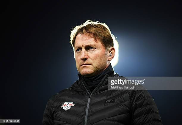 Ralph Hasenhuettl head coach of RB Leipzig before the Bundesliga match between SC Freiburg and RB Leipzig at SchwarzwaldStadion on November 25 2016...