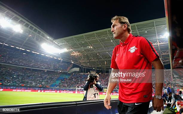 Ralph Hasenhuettl head coach of RB Leipzig looks on prior to the Bundesliga match between RB Leipzig and Borussia Moenchengladbach at Red Bull Arena...