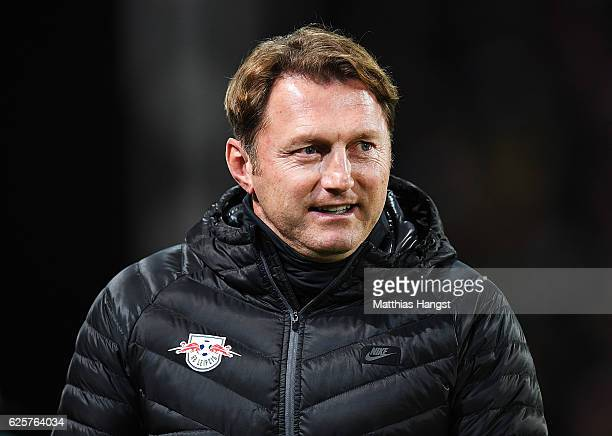 Ralph Hasenhuettl head coach of RB Leipzig smiles before the Bundesliga match between SC Freiburg and RB Leipzig at SchwarzwaldStadion on November 25...