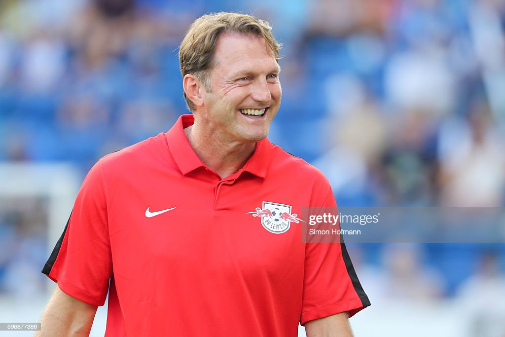 Ralph Hasenhuettl of Leipzig smiles prior to the Bundesliga match between TSG 1899 Hoffenheim and RB Leipzig at Wirsol RheinNeckarArena on August 28...
