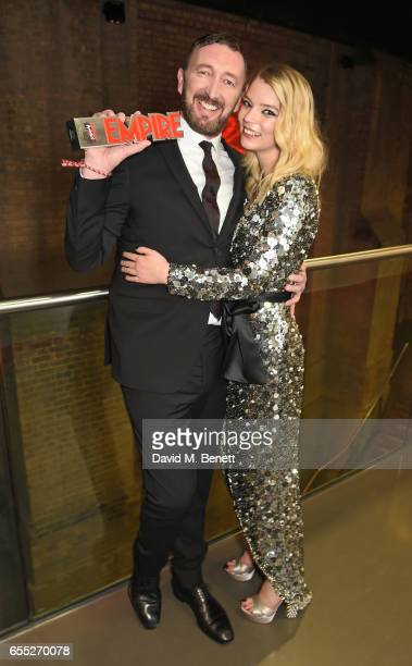 Ralph Ineson and Anya TaylorJoy pose in the winners room at the THREE Empire awards at The Roundhouse on March 19 2017 in London England