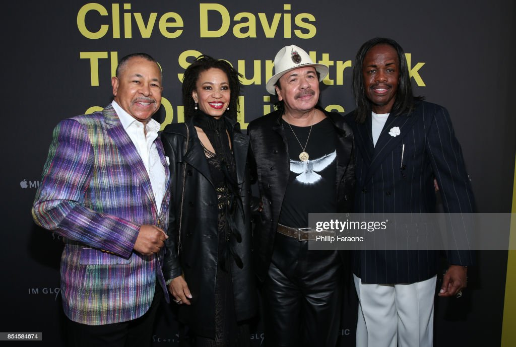Ralph Johnson, Cindy Blackman, Carlos Santana and Verdine White attend the Apple Music Los Angeles Premiere Of 'Clive Davis: The Soundtrack Of Our Lives' at Pacific Design Center on September 26, 2017 in West Hollywood, California.