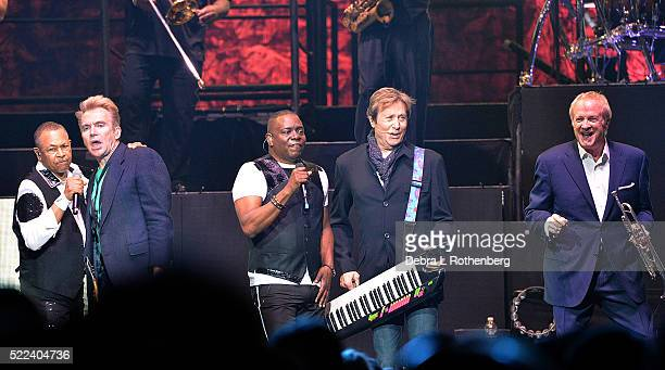 Ralph Johnson Jason Scheff Philip Bailey Robert Lamm and Lee Loughnane perform during the Heart and Soul 20 Tour featuring Chicago and Earth Wind and...
