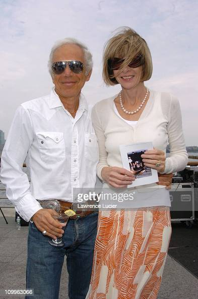 Ralph Lauren and Anna Wintour during Donna Karan and Family Unveil Stephan Weiss' Sculpture The Apple at Hudson River Park in New York City New York...