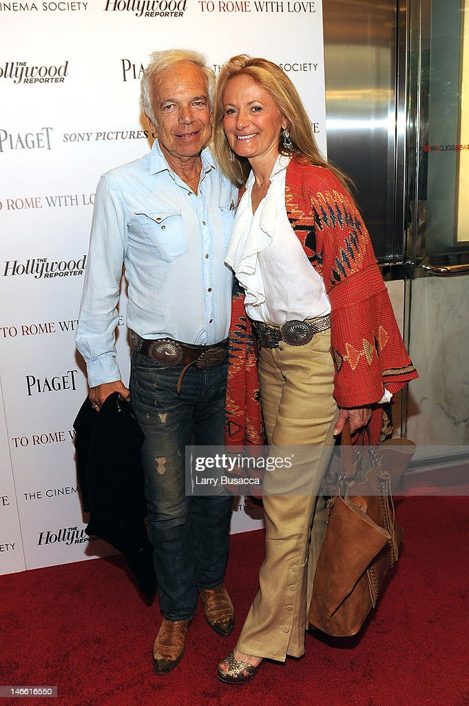 <a gi-track='captionPersonalityLinkClicked' href=/galleries/search?phrase=Ralph+Lauren+-+Fashion+Designer&family=editorial&specificpeople=4442108 ng-click='$event.stopPropagation()'>Ralph Lauren</a> and <a gi-track='captionPersonalityLinkClicked' href=/galleries/search?phrase=Ricky+Lauren&family=editorial&specificpeople=644361 ng-click='$event.stopPropagation()'>Ricky Lauren</a> attend the Cinema Society with The Hollywood Reporter & Piaget and Disaronno special screening of 'To Rome With Love' at the Paris Theatre on June 20, 2012 in New York City.