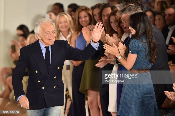Ralph Lauren greets Alec Baldwin and Hilaria Thomas Baldwin at Ralph Lauren Spring 2016 during New York Fashion Week The Shows at Skylight Clarkson...