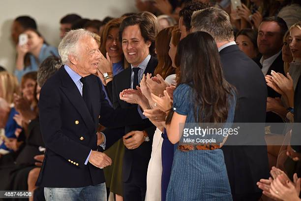 Ralph Lauren greets David Lauren Alec Baldwin and Hilaria Thomas Baldwin at Ralph Lauren Spring 2016 during New York Fashion Week The Shows at...