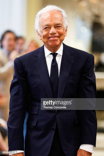 Ralph Lauren greets the audience after presenting the Ralph Lauren resort 2015 showing on June 4 2014 in New York City
