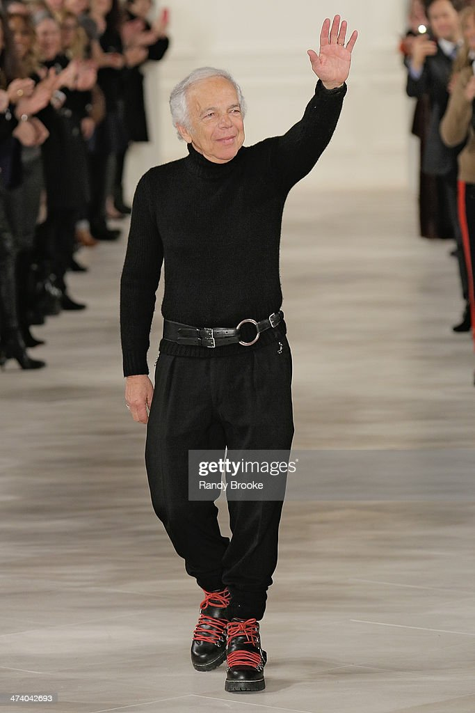 Ralph Lauren greets the audience at the end of the show at Ralph Lauren during Mercedes-Benz Fashion Week Fall 2014 at St. John's Center Studios on February 13, 2014 in New York City.