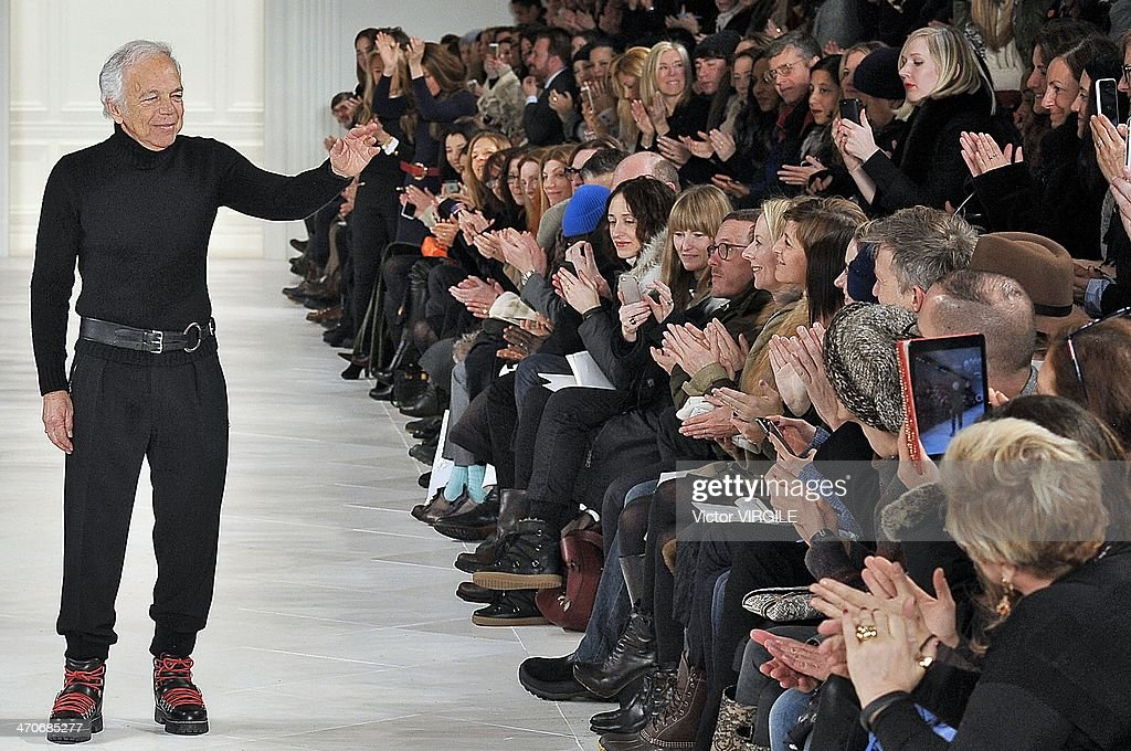 Ralph Lauren walks the runway at the Ralph Lauren Ready to Wear Fall/Winter 2014-2015 fashion show during Mercedes-Benz Fashion Week Fall 2014 at St John Center Studios on February 13, 2014 in New York City.