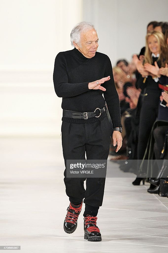 <a gi-track='captionPersonalityLinkClicked' href=/galleries/search?phrase=Ralph+Lauren+-+Fashion+Designer&family=editorial&specificpeople=4442108 ng-click='$event.stopPropagation()'>Ralph Lauren</a> walks the runway at the <a gi-track='captionPersonalityLinkClicked' href=/galleries/search?phrase=Ralph+Lauren+-+Fashion+Designer&family=editorial&specificpeople=4442108 ng-click='$event.stopPropagation()'>Ralph Lauren</a> Ready to Wear Fall/Winter 2014-2015 fashion show during Mercedes-Benz Fashion Week Fall 2014 at St John Center Studios on February 13, 2014 in New York City.