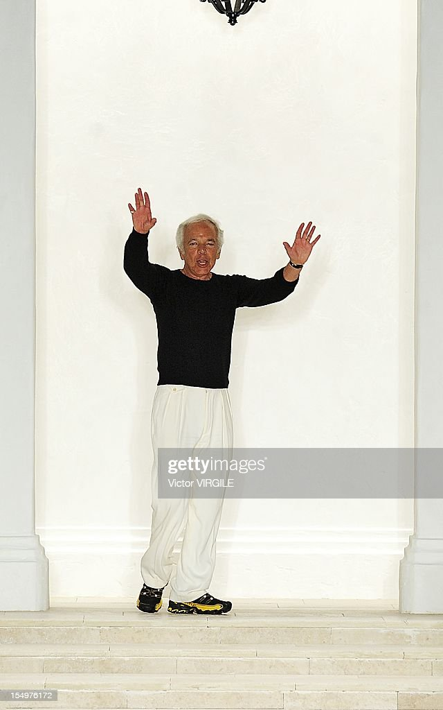 <a gi-track='captionPersonalityLinkClicked' href=/galleries/search?phrase=Ralph+Lauren+-+Fashion+Designer&family=editorial&specificpeople=4442108 ng-click='$event.stopPropagation()'>Ralph Lauren</a> walks the runway during the <a gi-track='captionPersonalityLinkClicked' href=/galleries/search?phrase=Ralph+Lauren+-+Fashion+Designer&family=editorial&specificpeople=4442108 ng-click='$event.stopPropagation()'>Ralph Lauren</a> show during Spring 2013 Mercedes-Benz Fashion Week at Skylight SOHO on September 13, 2012 in New York City.