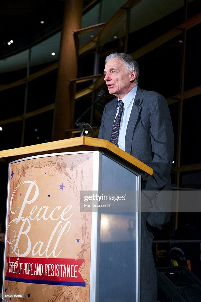 <a gi-track='captionPersonalityLinkClicked' href=/galleries/search?phrase=Ralph+Nader&family=editorial&specificpeople=154891 ng-click='$event.stopPropagation()'>Ralph Nader</a> speaks at The 2013 Peace Ball: Voices of Hope And Resistance at Arena Stage on January 20, 2013 in Washington, DC.