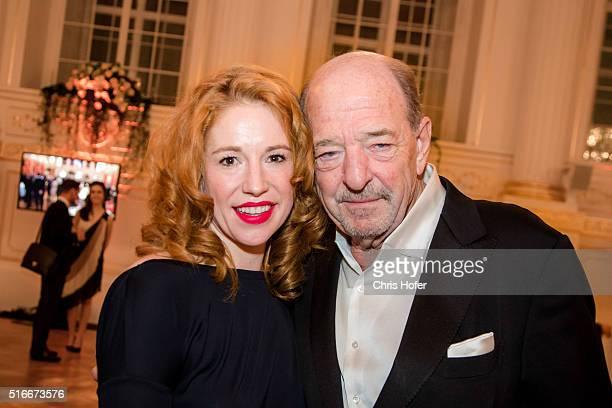 Ralph Siegel and Laura Kaefer attend Karl Spiehs 85th birthday celebration on March 19 2016 in Vienna Austria