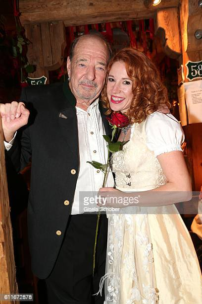 Ralph Siegel celebrates his 71st birthday with his girlfriend Laura Kaefer during the Oktoberfest at Theresienwiese on September 30 2016 in Munich...