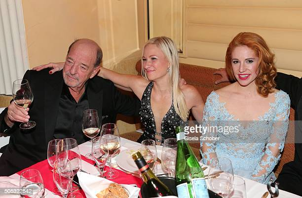 Ralph Siegel guest Laura Kaefer during the German Film Ball 2016 party at Hotel Bayerischer Hof on January 16 2016 in Munich Germany