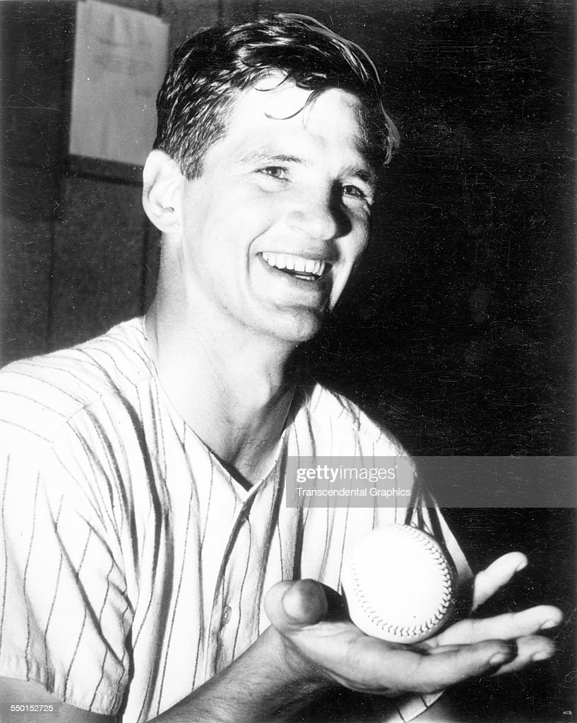 Ralph Terry pitcher for the New York Yankees shows off the game ball after a win at Yankee Stadium New York New York 1960