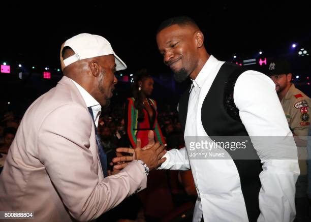 Ralph Tresvant and Jamie Foxx in the audience at the 2017 BET Awards at Microsoft Theater on June 25 2017 in Los Angeles California