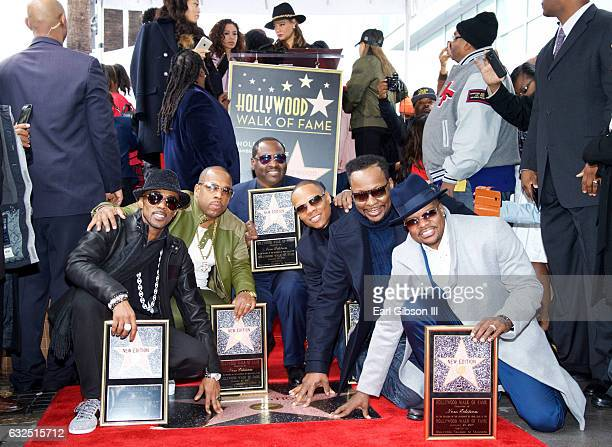 Ralph Tresvant Michael Bivins Johnny Gill Ronnie DeVoe Ricky Bell and Bobby Brown pose as New Edition is Honored with Star On The Hollywood Walk Of...