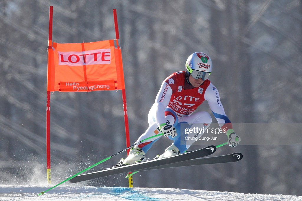 Ralph Weber of Switzerland competes in the Men's Super G Finals during the 2016 Audi FIS Ski World Cup at the Jeongseon Alpine Centre on February 7, 2016 in Jeongseon-gun, South Korea.