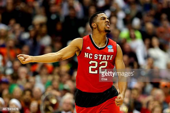 Ralston Turner of the North Carolina State Wolfpack reacts after a three pointer in the first half of the game against the Louisville Cardinals...