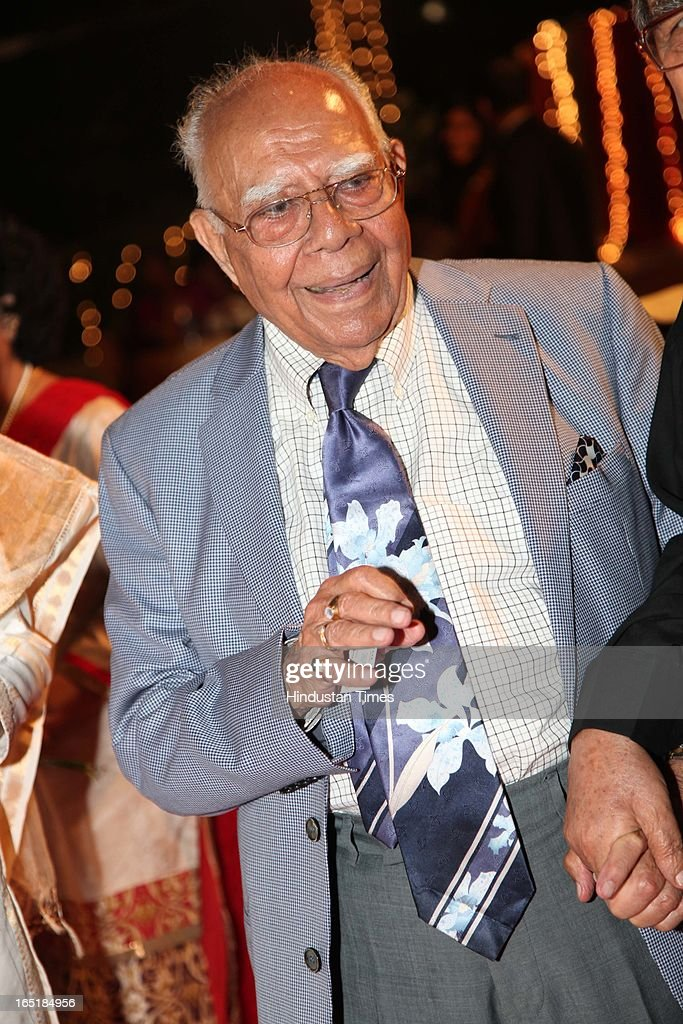 Ram Jethmalani at the wedding reception of educationist Dr SB Mujumdar's grandson Ameya Yeravdekar and Swati Thorat at Delhi Gymkhana on March 22, 2013 in New Delhi, India.