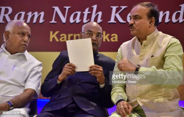 Ram Nath Kovind the presidential election candidate of NDA with BJP Karnataka president BS Yeddyurappa and Union minister of Chemicals and...