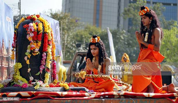 Ram Rath Procession for the celebration of Ram Navami on the last day of Navratri Festival at Ram Leela Maidan on March 28 2015 in New Delhi India At...