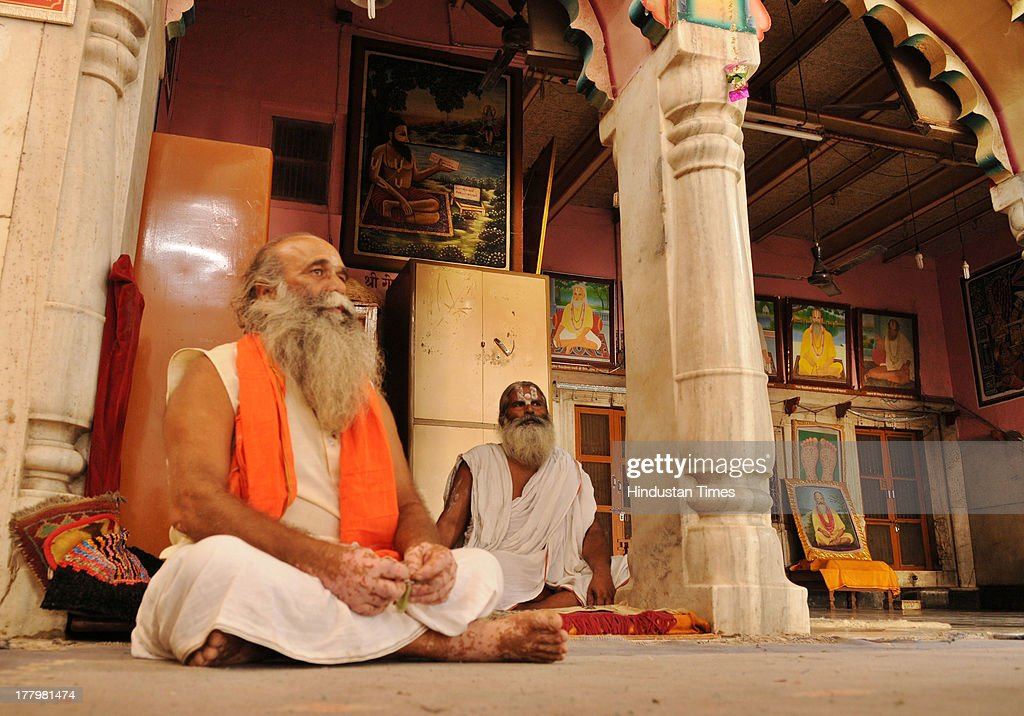 Ram Sharan Das, the priest of Ram Kuti temple in Begumpura, Ayodhya (L) and Ram Krishna Das, the saint from Maniram Das Chaoni have threatened to launch a jail bharo stir if their fellow saints arrested during clampdown will not released immediately on August 26, 2013 in Ayodhya, India. High security was on alert in Ayodhya in wake of Vishwa Hindu Parishad's (VHP) 84 Kosi yatra, which was banned by Uttar Pradesh government.