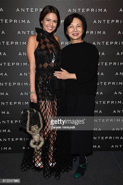 Rama Lila and designer Izumi Ogino attend the Anteprima show during Milan Fashion Week Fall/Winter 2016/17 on February 25 2016 in Milan Italy